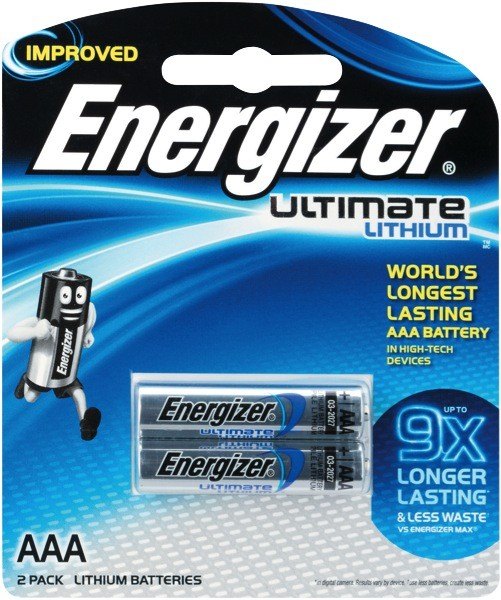 Energizer AAA Ultimate Lithium Batteries 2 Piece Pack