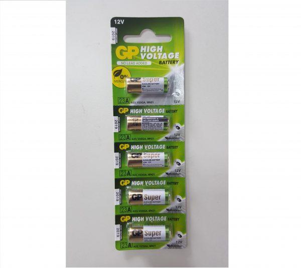 GP 23A car alarm alkaline battery 12V 5pc pack – same battery as A23, V23GA, MN21