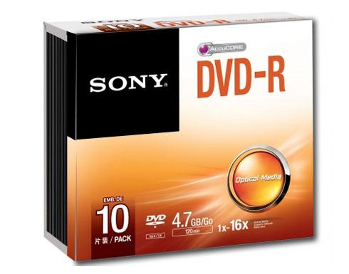 Sony DVD-R Blank Disc 10pcs with Slim Case 4.7GB 120Min 16X Recording Media