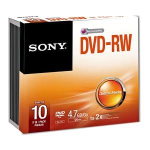 Sony DVD-RW Blank Disc 10pcs with Slim Case 4.7GB 120Min Recording Media