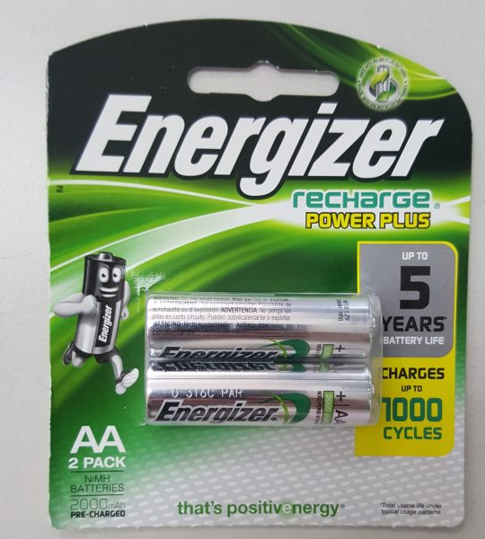 Energizer recharge power plus 2pc AA rechargeable batteries 2000 mAh 1000 Cycles