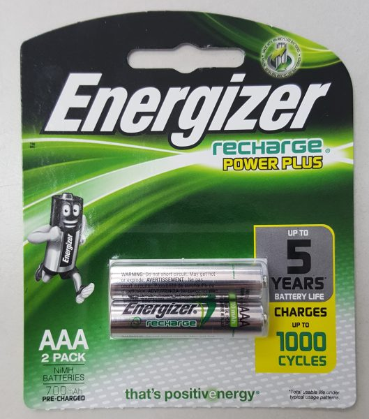 Energizer recharge power plus 2pc AAA rechargeable batteries 700 mAh 1000 Cycles