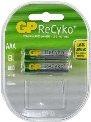 GP Recyko AAA 2 piece rechargeable batteries 800mAh