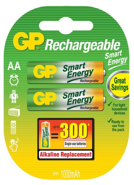 GP Rechargeable Smart Energy 2pc AA 1000mAh batteries