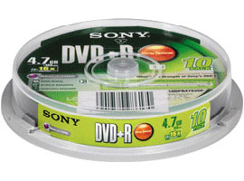 Sony DVD+R 16x 4.7GB 120min Recording Media 10pcs