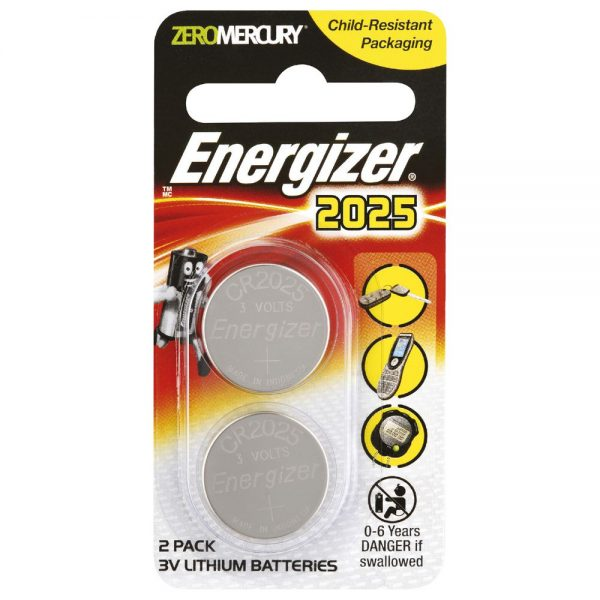 Energizer CR2025 Lithium Battery 2 Piece Pack
