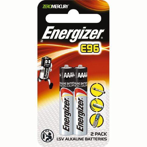 Energizer AAAA Alkaline Batteries E96 2 Piece Pack