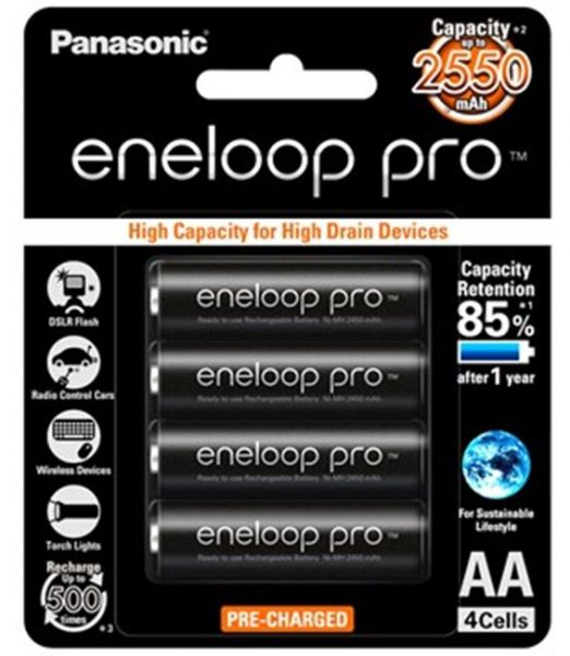 Panasonic Eneloop Pro AA Rechargeable Batteries 4pcs Pack – Made in Japan