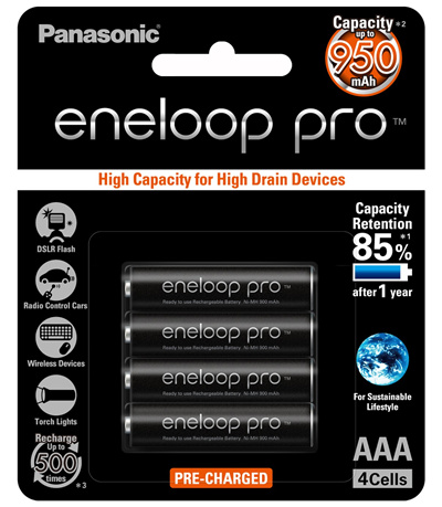 Panasonic Eneloop Pro AAA Rechargeable Batteries 4pcs Pack – Made in Japan