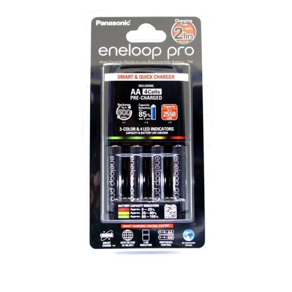 Panasonic Eneloop Pro 2hrs Smart and Quick Charger + 4 AA Rechargeable Batteries