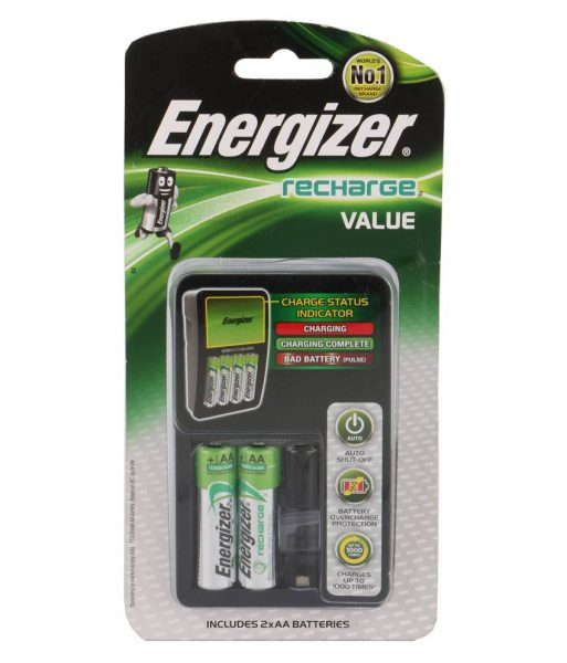 Energizer Recharge Value Battery Charger with 2 AA 1300mAh battery
