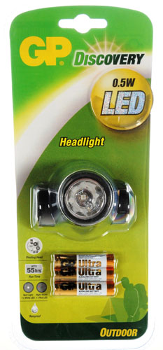 LED Headlight – GP Discovery with 3pcs AAA Ultra Alkaline Batteries