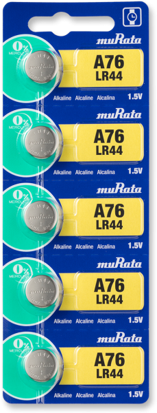 Murata A76 LR44 Mini Alkaline Battery 5-pc Pack – Made in Japan