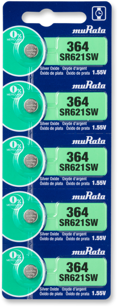 Murata 364 SR621 Watch Battery 5-pc Pack – Made in Japan