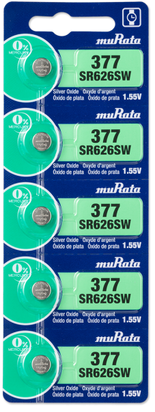Murata 377 SR626 Watch Battery 5-pc Pack – Made in Japan