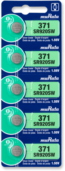 Murata 371 SR920 Watch Battery 5-pc Pack – Made in Japan